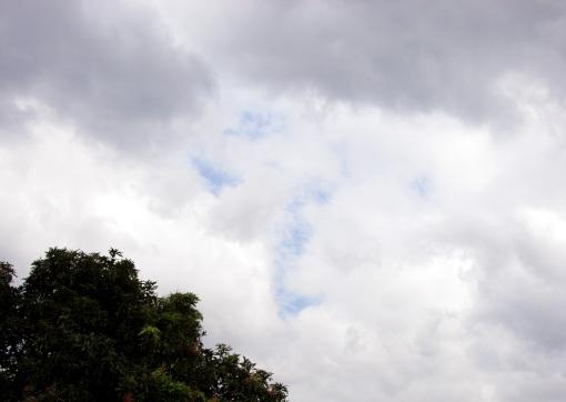 The blue sky peeking