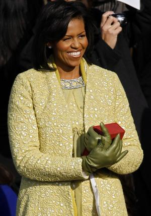 Michelle Obama wearing an Isabel Toledo creation matched with a J. Crew gloves